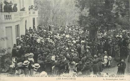 """CPA FRANCE 34 """"Lodève, la chorale de la Maison du Peuple de Montpellier, 1911"""""""