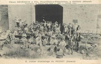 """CPA FRANCE 34 """"Gignac, Atelier d'emballage du Pouget, viticulteur"""""""