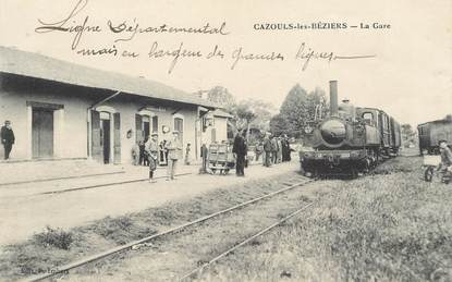 "CPA FRANCE 34 ""Cazouls les Béziers, la gare"" / TRAIN"