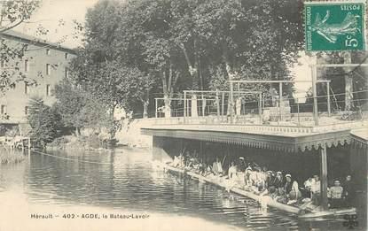 """CPA FRANCE 34 """"Agde, le bateau lavoir"""""""