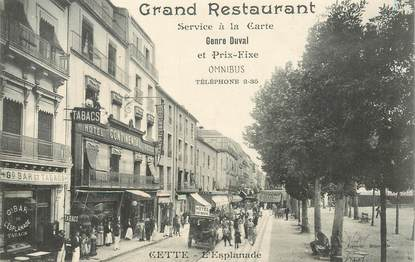 "CPA FRANCE 34 ""Cette, l'Esplanade, Hotel Continental"""