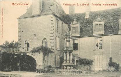 "/ CPA FRANCE 24 ""Montignac, château de Sauveboeuf, fontaine monumentale"""