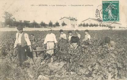 """CPA FRANCE 34 """"Béziers, les vendanges, coupeuses et porteurs"""""""