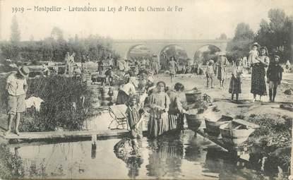 """CPA FRANCE 34 """"Montpellier, les lavandières et le pont du chemin de fer"""""""