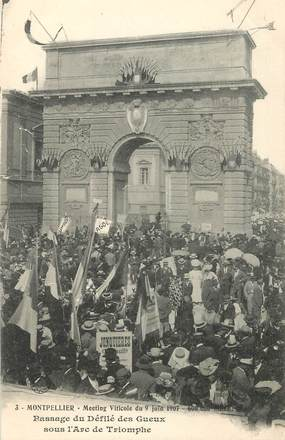 """CPA FRANCE 34 """"Montpellier, meeting viticole 1907"""""""