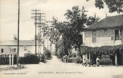 """/ CPA FRANCE 38 """"Sablonnières, route de Bourgoin et Vieune"""""""