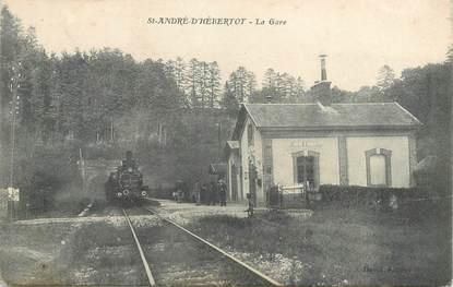 "CPA FRANCE 14 ""Saint André d'Hébertot, la gare"" / TRAIN"