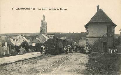 """CPA FRANCE 14 """"Arromanches, la gare"""" / TRAIN"""