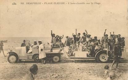 """CPA FRANCE 14 """"Deauville, Plage fleurie, l'auto chenille sur la plage"""""""