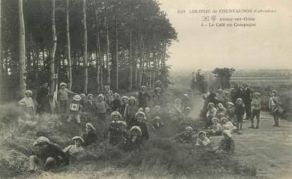 """CPA FRANCE 14 """"Colonie de Courvaudon, le café en campagne"""""""