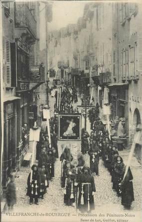 """CPA FRANCE 12 """"Villefranche de Rouergue, Procession des pénitents noirs"""""""
