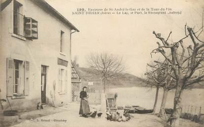 """/ CPA FRANCE 38 """"Saint Didier, le lac, le port, le restaurant"""""""