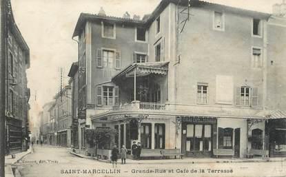 """/ CPA FRANCE 38 """"Saint Marcellin, grande rue et café de la terrasse"""""""