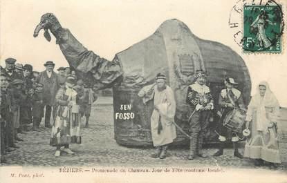"""CPA FRANCE 34 """"Béziers, Promenade du chameau, jour de Fête"""""""