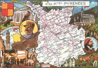 """/ CPSM FRANCE 65 """"Hautes Pyrénées"""" / CARTE GEOGRAPHIQUE"""