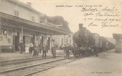"""CPA FRANCE 88 """"Arches, la gare, arrivée d'un train"""" / TRAIN"""
