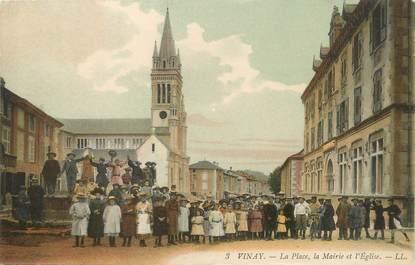 """/ CPA FRANCE 38 """"Vinay, la place, la mairie et l'église"""""""