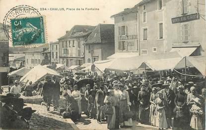 """CPA FRANCE 87 """"Chalus, place de la Fontaine"""""""