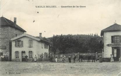 "/ CPA FRANCE 38 ""Vaulx Milieu, quartier de la gare"""