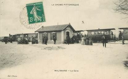 """CPA FRANCE 26 """"Malissard, la gare"""" / TRAIN"""