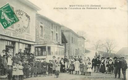"""CPA FRANCE 26 """"Montrigaud, arrivée de l'Autobus de Romans à Montrigaud"""""""