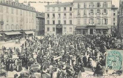 """/ CPA FRANCE 38 """"Vienne, place Miremont et Marché"""""""