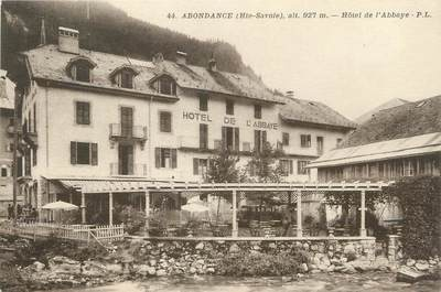 "/ CPA FRANCE 74 ""Abondance, hôtel de l'Abbaye"""