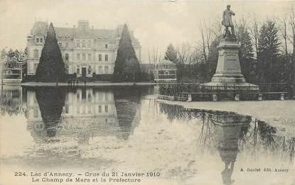 """/ CPA FRANCE 74 """"Lac d""""Annecy, le champ de Mars et la préfecture"""" / INONDATION"""