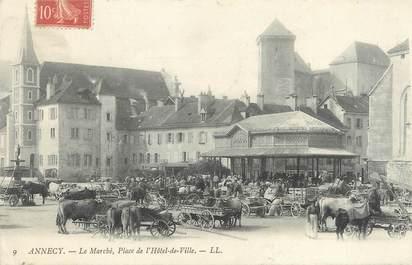"""/ CPA FRANCE 74 """"Annecy, le marché, place de l'hôtel de ville"""""""
