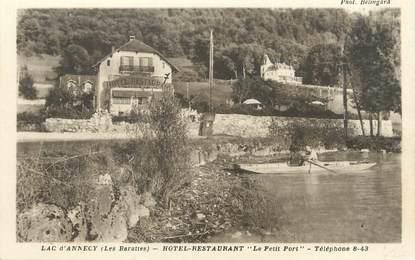 """/ CPA FRANCE 74 """"Lac d'Annecy, hôtel restaurant le petit port"""""""