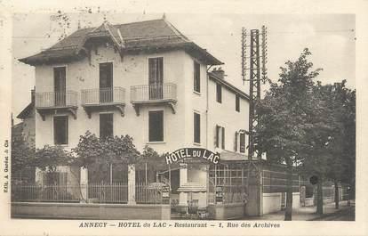 """/ CPA FRANCE 74 """" Annecy, hôtel du Lac"""""""