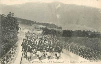 """/ CPA FRANCE 74 """"Annecy, départ pour le cantonnement"""" / CHASSEURS ALPINS"""
