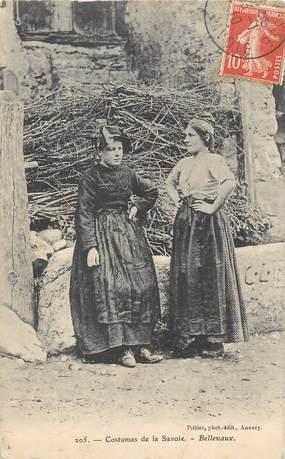 """/ CPA FRANCE 74 """"Bellevaux, costumes de la Savoie"""""""