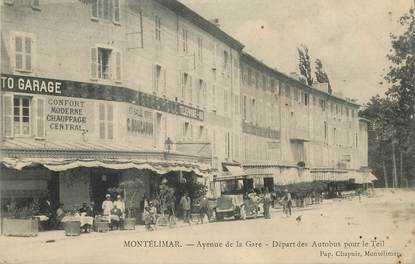 """CPA  FRANCE 26  """"Montélimar, avenue de la gare, départ des autobus pour le Teil"""""""