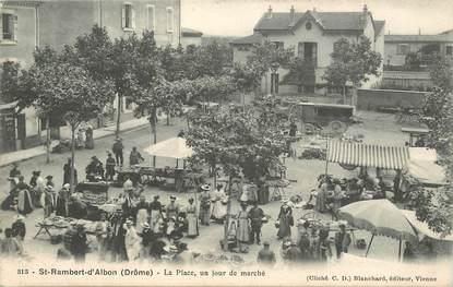 """CPA  FRANCE 26 """"Saint Rambert d'Albon, la Place, un jour de marché """""""