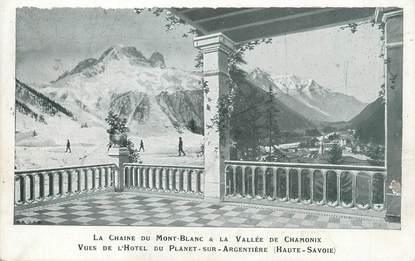 """/ CPA FRANCE 74 """"Chamonix, la chaine du Mont Blanc et la vallée de Chamonix"""""""
