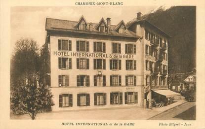 """/ CPA FRANCE 74 """"Chamonix Montblanc, hôtel International et de la gare"""""""