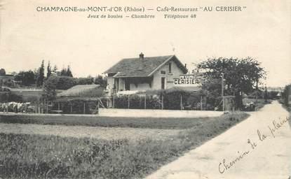 """CPA FRANCE 69 """"Champagne au Mont d'Or, Café restaurant Au Cerisier"""""""