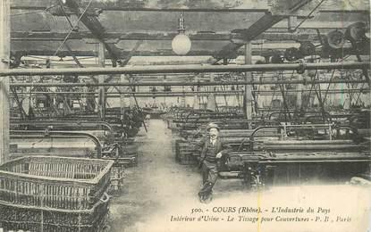 """CPA FRANCE 69 """"Cours, l'industrie de tissage"""""""