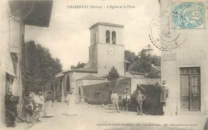 """CPA FRANCE 69 """"Charentay, l'Eglise et la place"""""""