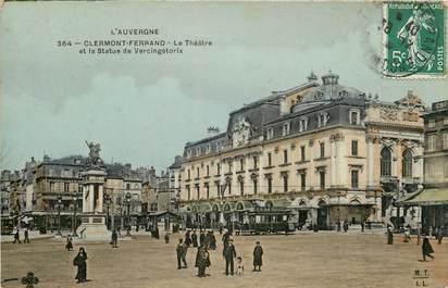 """CPA FRANCE 63 """"Clermont Ferrand, le Théâtre et la statue de Vercingétorix"""""""