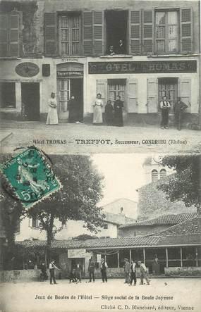 "CPA FRANCE 69 ""Condrieu, Hotel Thomas et jeu de boules"""