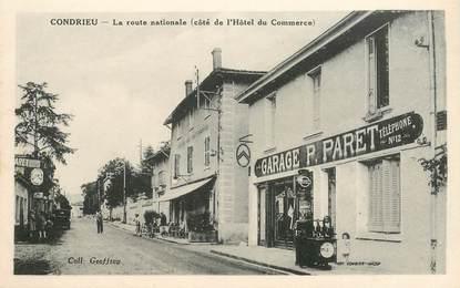 "CPA FRANCE 69 ""Condrieu, la rte Nationale, Garage et Hotel"""