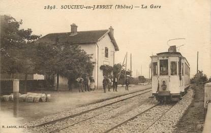 "CPA FRANCE 69 ""Soucieu en Jarret, la gare"" / TRAIN"