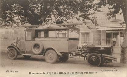 """CPA FRANCE 69 """"Commune de Quincié, matériel d'incendie"""" / POMPIER"""