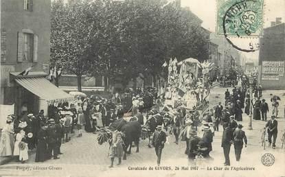 "CPA FRANCE 69 ""Givors, la cavalcade, 1907, le char de l'agriculture"""