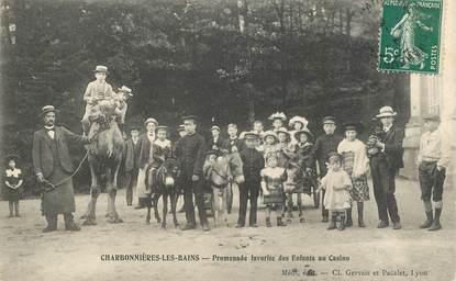 """CPA FRANCE 69 """"Charbonnières les Bains, promenade des enfants à dos d'ane"""""""