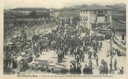 """CPA FRANCE 69 """"Dardilly le Bas, fête du 20 mai 1909, défilé des autorités"""""""