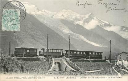 """/ CPA FRANCE 74 """"Chamonix, chemin de fer électrique et le mont Blanc"""""""