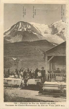 """/ CPA FRANCE 74 """"Chamonix, chemin de fer du Mont Blanc, chalet restaurant du col de Voza"""""""